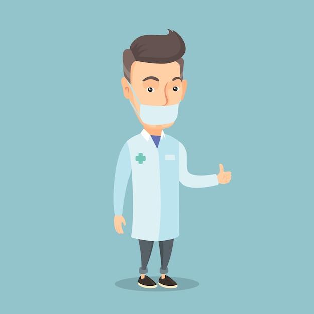 Doutor que dá os polegares acima da ilustração do vetor. Vetor Premium
