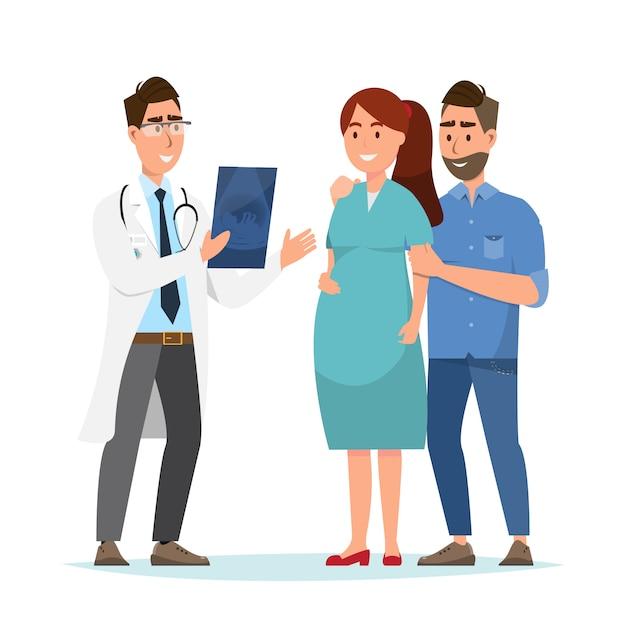 Doutor que mostra a folha do ultrassom à mulher gravida e ao seu marido no hospital. Vetor Premium