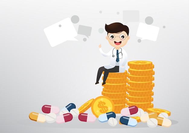 Doutor que senta-se no conceito das moedas, do negócio e dos cuidados médicos. vetor, ilustração Vetor Premium
