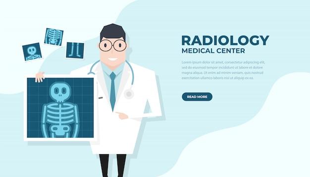 Doutor, segurando o filme de raio-x. saúde check-up banner. Vetor Premium