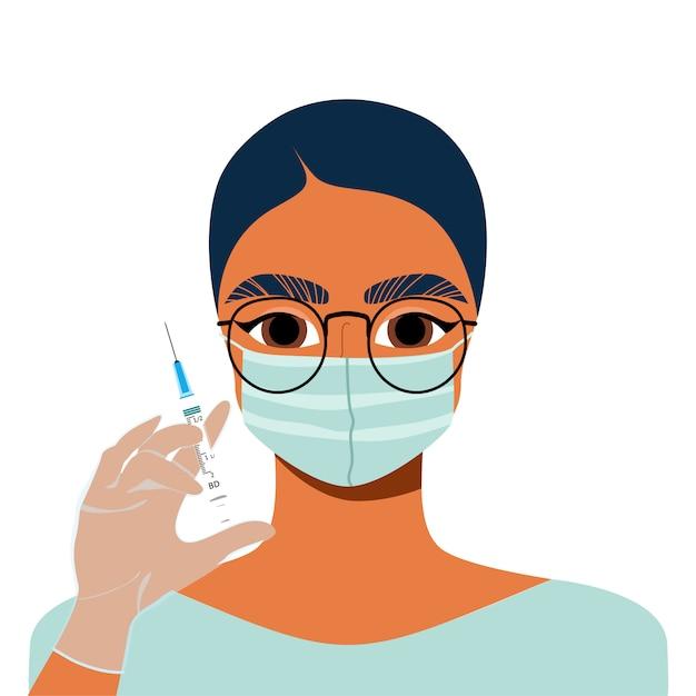 Doutor, segurando uma seringa. mestre de cosmetologia feminino com uma seringa na mão. indústria de beleza e conceito de injeção. preenchimentos faciais, injeções de vitaminas. Vetor Premium