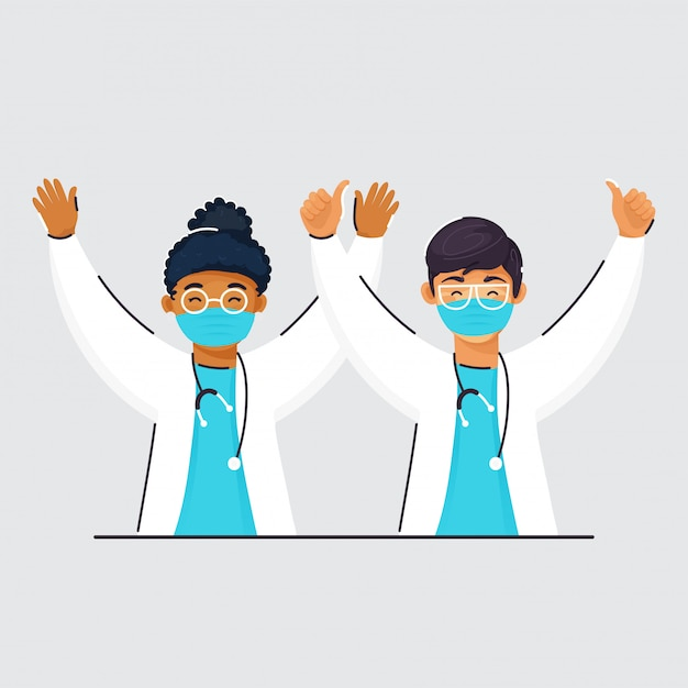 Doutores alegres da criança que vestem a máscara protetora e mãos levantadas em gray background. Vetor Premium