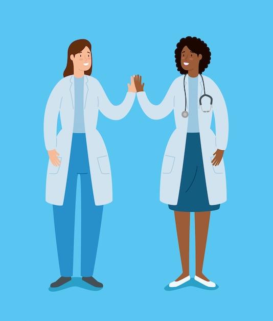 Doutores de mãos dadas personagens de avatar de mãos dadas Vetor grátis