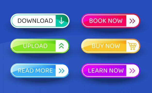 Download botão, conjunto de botões de estilo material moderno de vetor. cores e ícones diferentes do inclinação. Vetor Premium