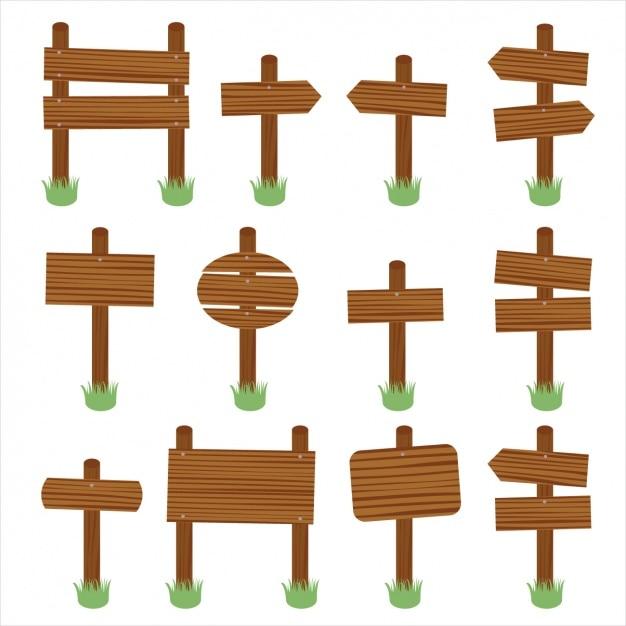Doze sinais de madeira Vetor grátis