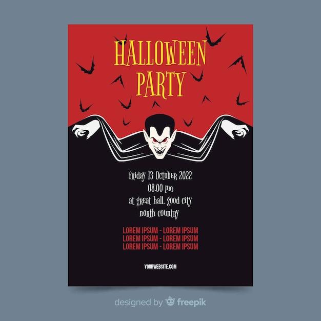 Drácula de vampiro no pôster de festa de halloween plana Vetor grátis