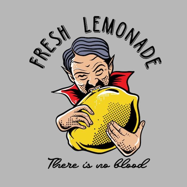 Drácula mordendo limão Vetor Premium