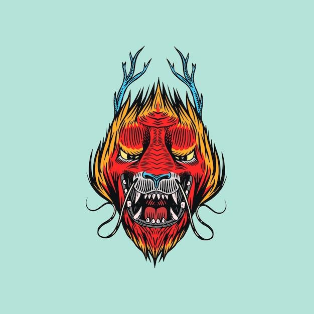 Dragão chinês. animal mitológico ou réptil tradicional asiático. Vetor Premium