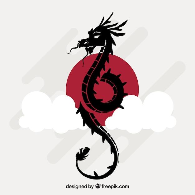 Dragão chinês tradicional com design de silhueta Vetor Premium