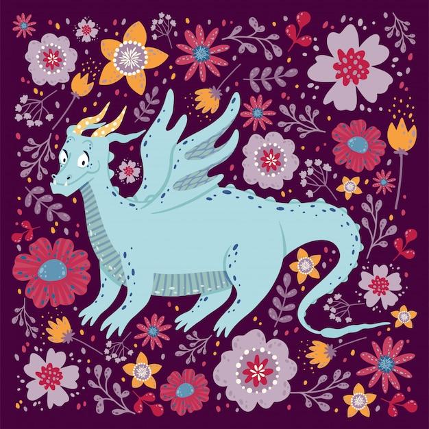 Dragão com o design de cartão de flores. infantil com um dragão em um quadro quadrado. Vetor Premium