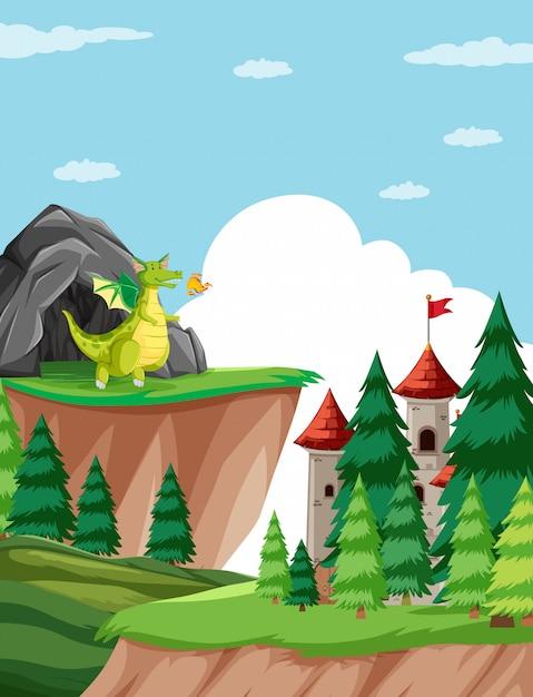 Dragão cuspidor de fogo na ilustração de cena do castelo Vetor Premium