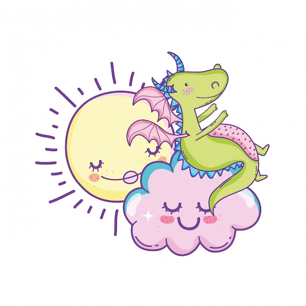 Dragão fofo em cartoons de nuvens Vetor Premium