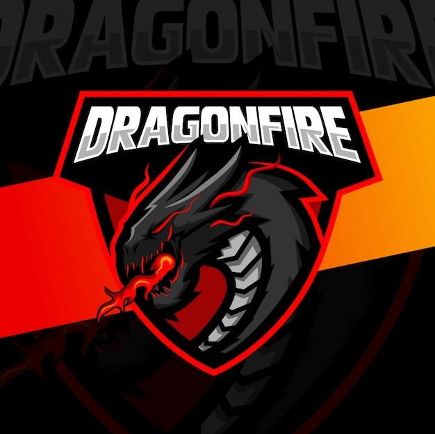 Dragão fogo mascote esport design de logotipo Vetor Premium