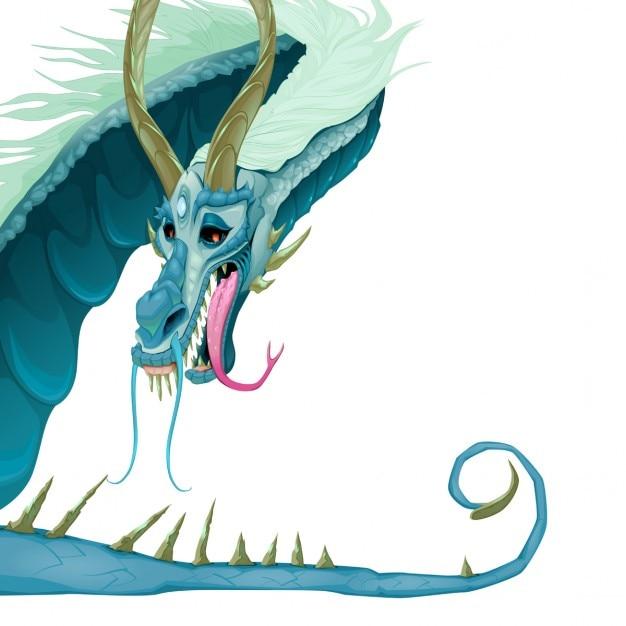 dragão isolado com a boca aberta e a cauda vector ilustração dos