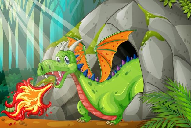 Dragão na caverna soprando fogo Vetor Premium