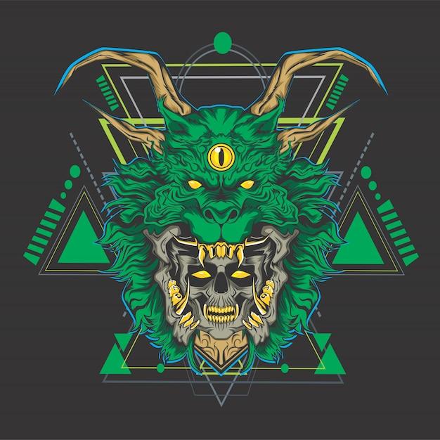 Dragão verde Vetor Premium