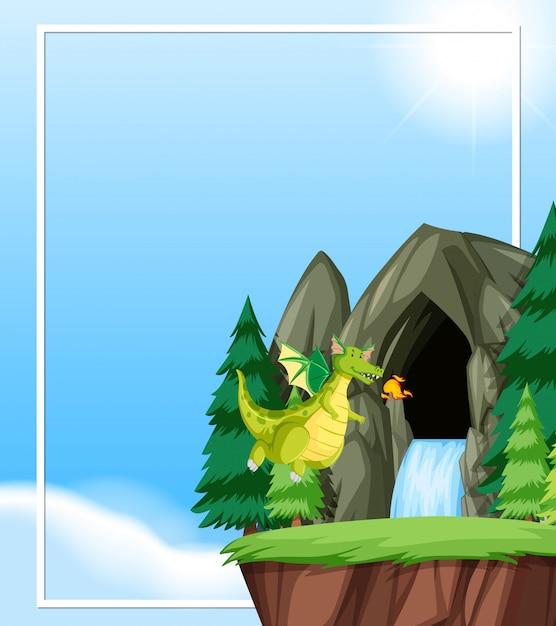Dragão voar na natureza com copyspace Vetor grátis