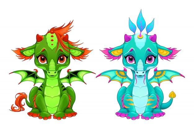 Dragões de bebê com olhos fofos e sorriso Vetor Premium