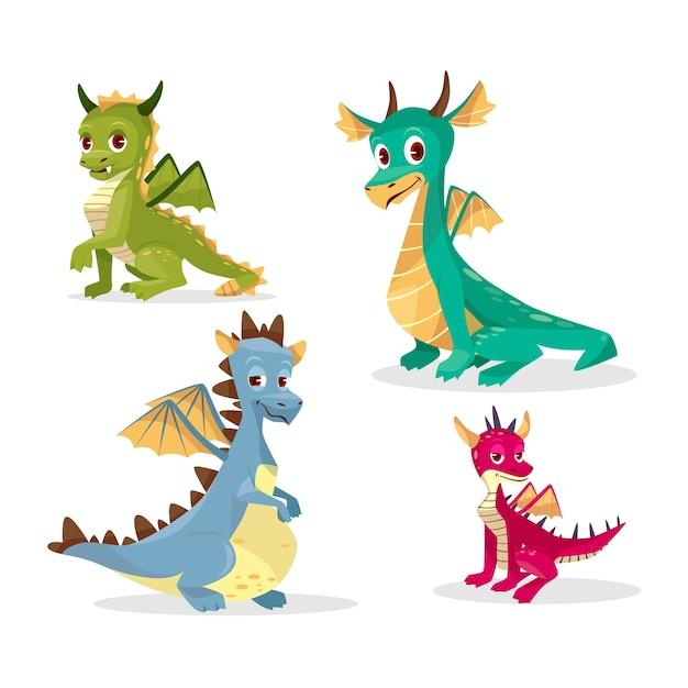 Dragões de desenhos animados para criança ou crianças Vetor grátis