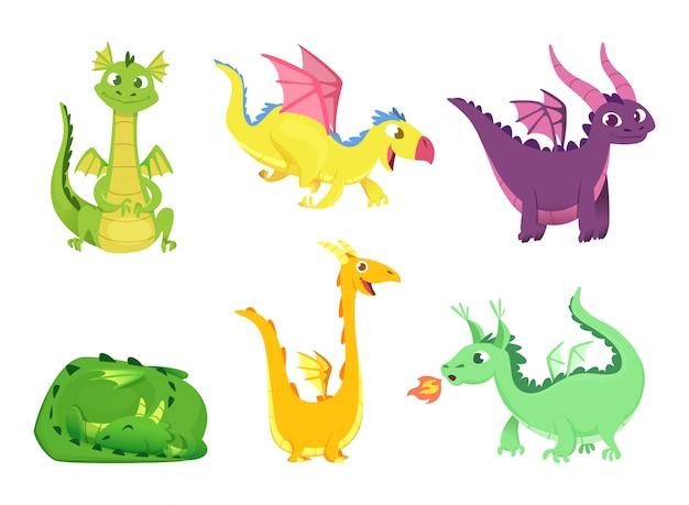 Dragões de fantasia, anfíbios de répteis bonitos e dragões de conto de fadas com asas grandes dente afiado criaturas selvagens Vetor Premium