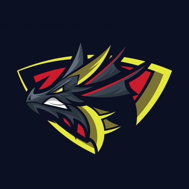 Dragon logo mascot design vector Vetor Premium