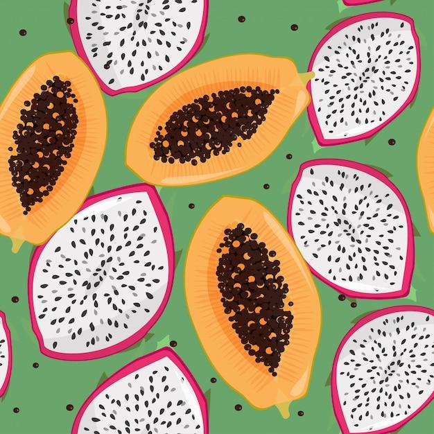 Dragonfruit (pitaya, pitahaya) e papaia sem costura padrão. Vetor Premium
