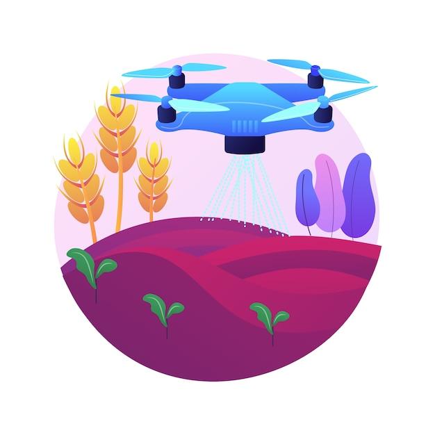 Drone de agricultura usa ilustração do conceito abstrato. agricultura de precisão, primeiros socorros, análise, pulverização de safras, vigilância de drones, monitoramento de irrigação. Vetor grátis