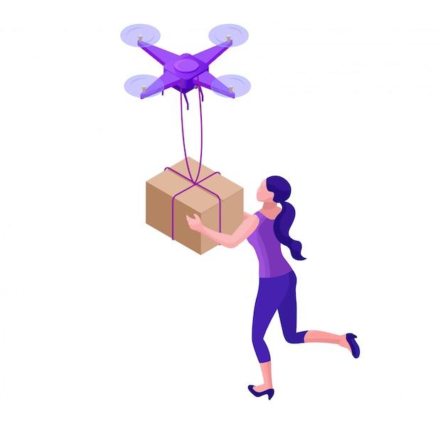 Drone, entregando encomendas para hipster garota Vetor Premium