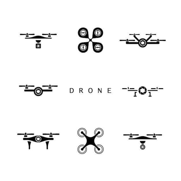 Drone logo design, drone icon set Vetor Premium