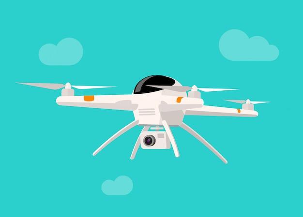 Drone voador com ilustração vetorial de câmera isolada Vetor Premium