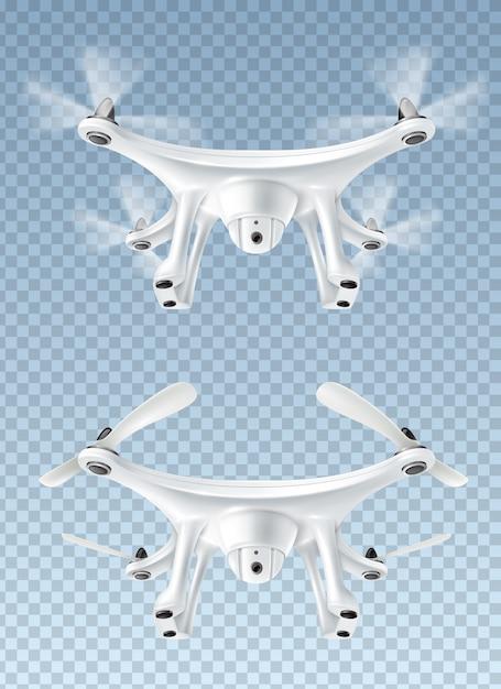 Drone voador realista Vetor grátis