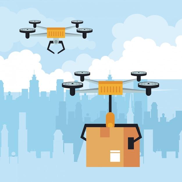 Drone voando com caixa na cidade Vetor Premium