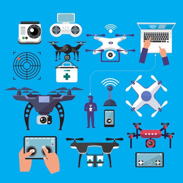 Drones de objeto de vetor Vetor Premium