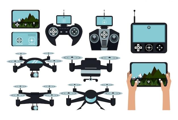 Drones e controles remotos Vetor Premium