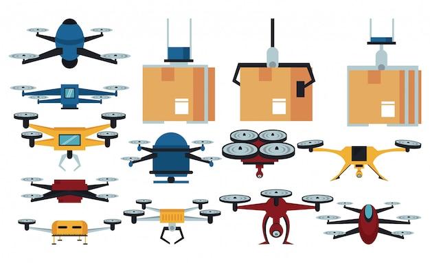 Drones e ícones de entrega Vetor Premium