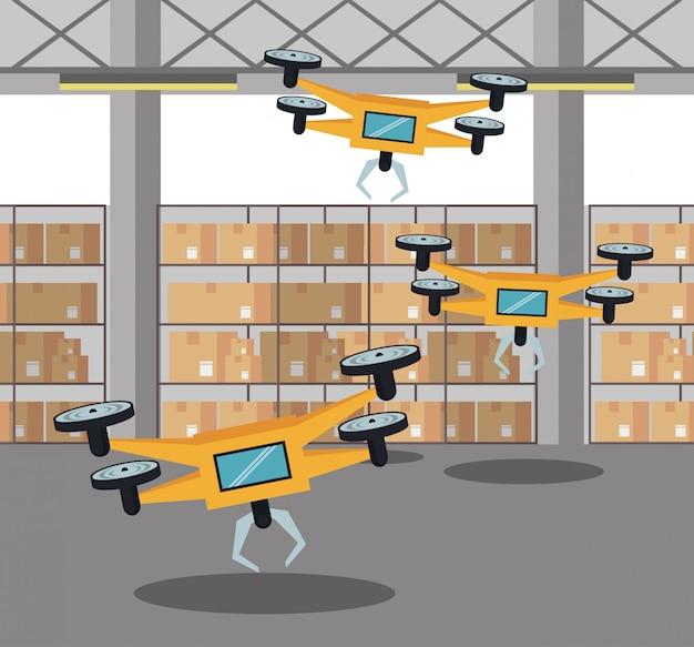 Drones em desenho animado de armazém Vetor Premium