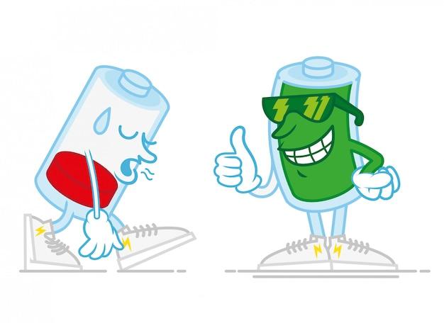 Duas baterias móveis, uma é muito triste, cansada de baixa energia e o segundo é um sorriso feliz, carregado de energia em óculos de sol, mostrando o dedo no estilo moderno ícone de design plano de ilustração de personagem de desenho animado estilo moderno Vetor Premium