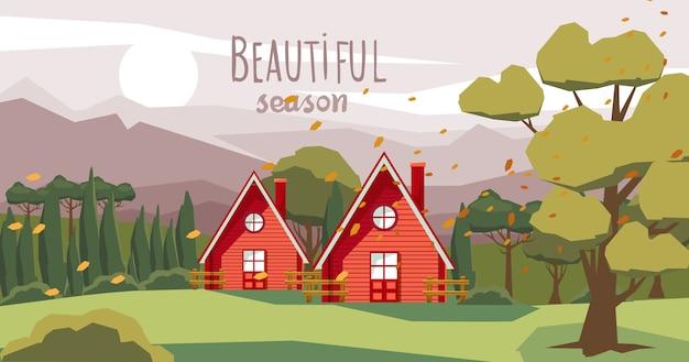 Duas casas de fazenda no meio da floresta com folhas caídas de laranja carregadas pelo vento. bela temporada Vetor grátis