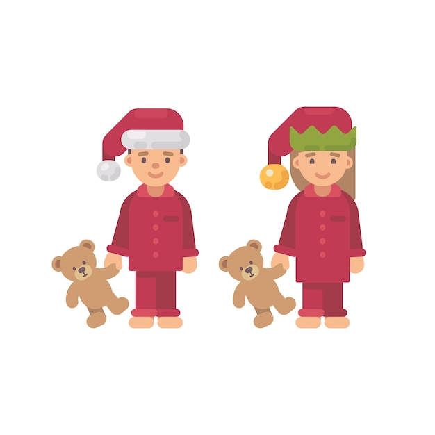 Duas crianças, em, chapéus natal, e, pijama vermelho, segurando, ursos teddy Vetor Premium