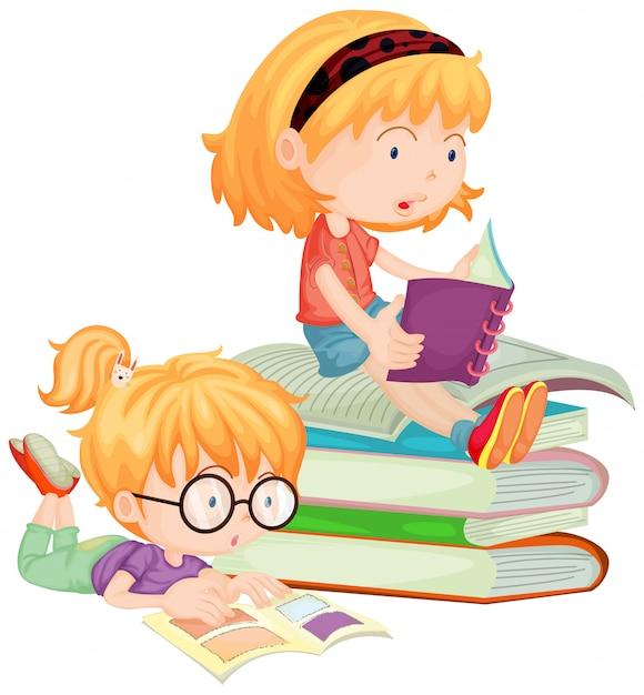 Duas crianças, leitura, livros, em, escola Vetor grátis
