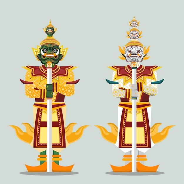 Duas estátuas gigantes do guardião tailandês Vetor Premium