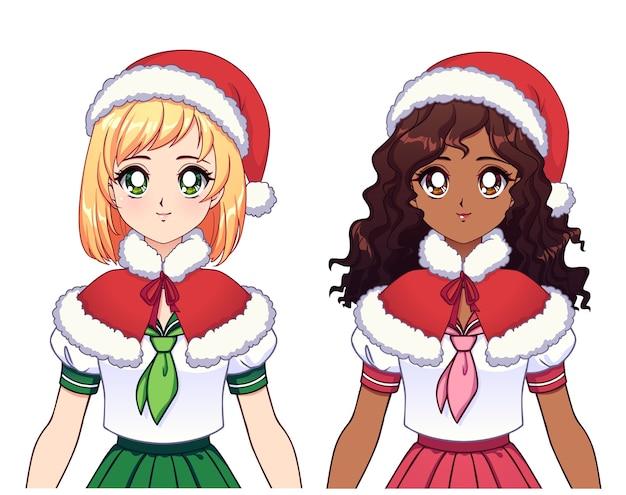Duas garotas de anime étnicas diferentes usando uniforme escolar japonês e chapéu de natal Vetor Premium
