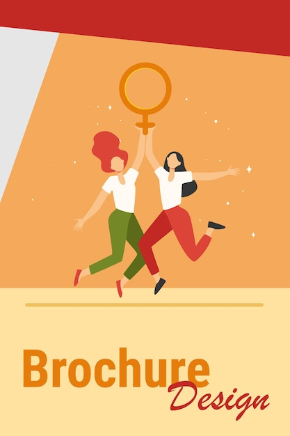 Duas garotas segurando um símbolo feminino. mulheres com vênus assinam comemorando a ilustração vetorial plana do dia da mulher. poder feminino, empoderamento, conceito de feminismo Vetor grátis