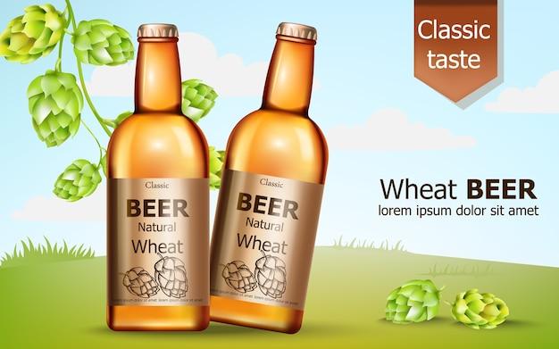 Duas garrafas de cerveja de trigo natural rodeadas de lúpulo Vetor grátis