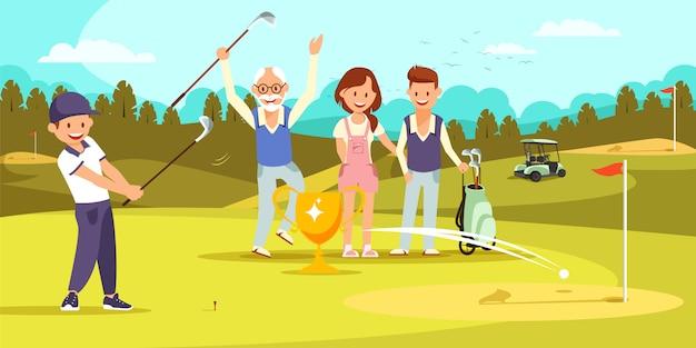 Duas gerações de família jogando golfe juntos. Vetor Premium