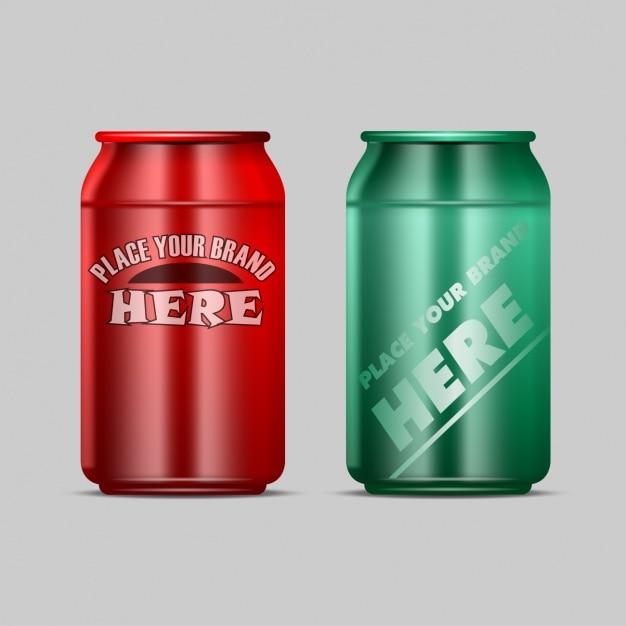 Duas latas de bebida Vetor grátis