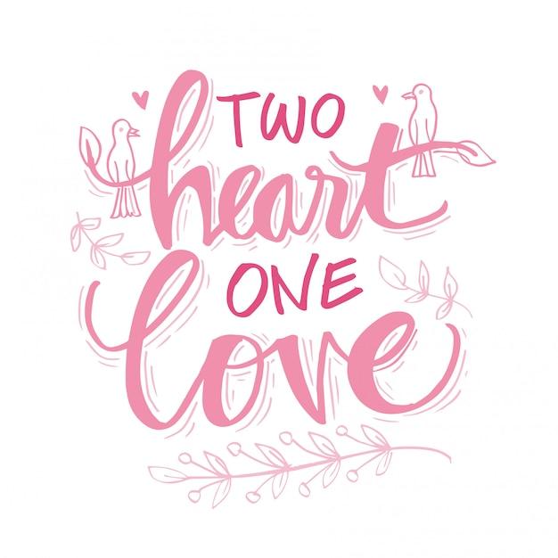 Duas letras de amor de um coração Vetor Premium