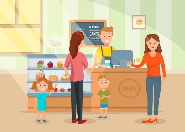 Duas mães e crianças na ilustração de loja de padaria Vetor Premium