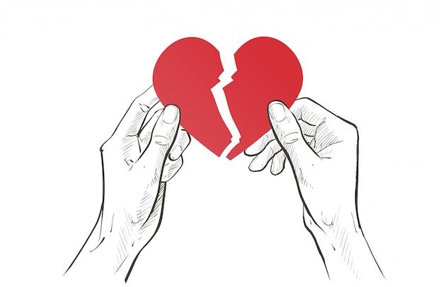 Duas mãos segurando rasgando coração vermelho ao meio. relacionamento quebrado, tristeza frustração, único, conceito de separação. esboço linha ilustração Vetor Premium