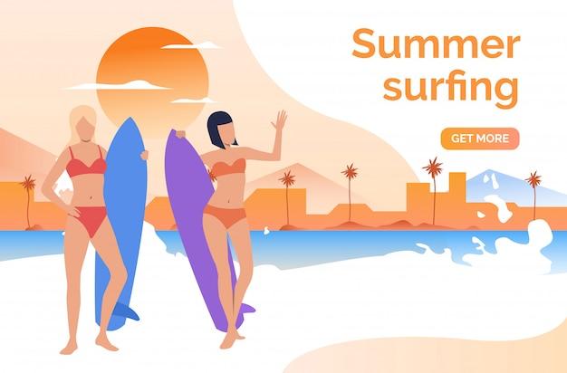 Duas meninas, em, swimsuits, com, surfboards Vetor grátis